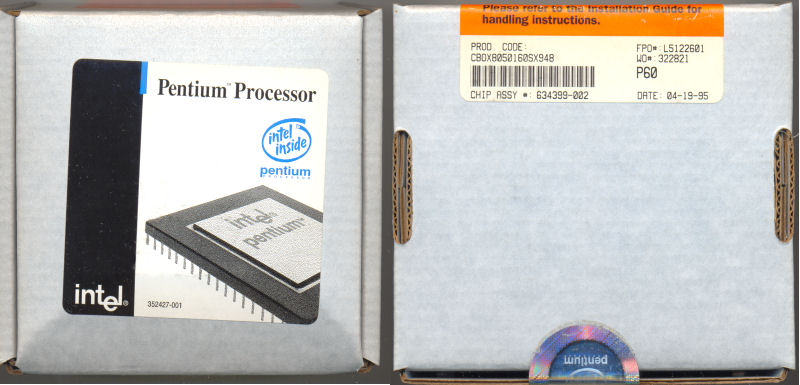 Intel A80501-60 SX948 FDIV replacement program (unopened box)