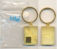 Intel gold keychain PIII with chip die