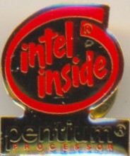 Intel pin 'Intel inside' red