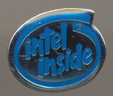 Intel pin 'Intel inside' blue
